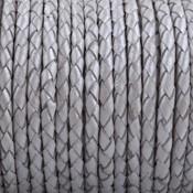 Grijs Rondgevlochten leer Donker grijs naturel randen 4mm - prijs per 20cm