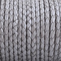 Grijs Rondgevlochten leer Donker grijs naturel randen 4mm - prijs per 10cm