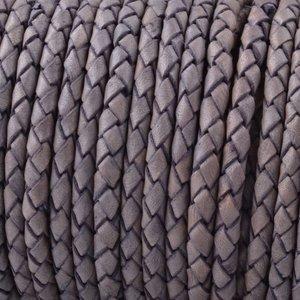 Grijs Rondgevlochten leer Vintage nude grijs 4mm - prijs per 10cm