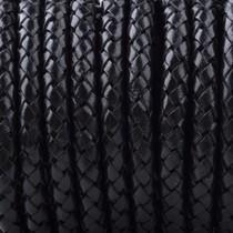 Zwart Rondgevlochten leer Zwart 6mm - prijs per 10cm