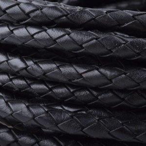 Zwart Rondgevlochten leer Zwart 8mm - prijs per 10cm