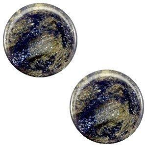 Blauw Polaris cabochon plat Stardust Midnight blue 7mm