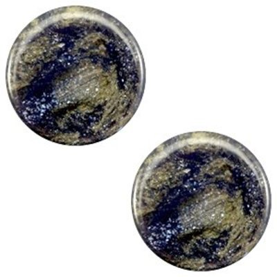 Blauw Polaris cabochon plat Stardust Midnight blue 7mm