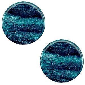 Blauw Polaris cabochon Sparkle dust Blue zircon 7mm