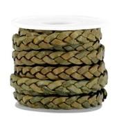 Groen Plat gevlochten leer Medium olive green 5x2mm - prijs per 20cm