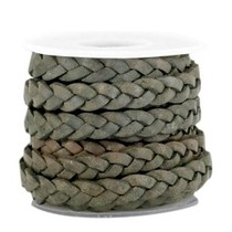 Grijs Plat gevlochten leer Greenish grey 5x2mm - prijs per 20cm