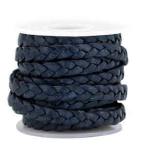 Blauw Plat gevlochten leer Dark blue 5x2mm - prijs per 20cm