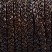 Zwart Plat gevlochten leer Vintage naturel zwart 5x2mm - prijs per 20cm