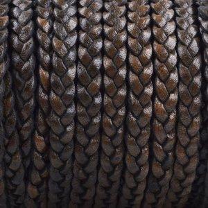 Grijs Plat gevlochten leer Vintage bruin grijs 5x2mm - prijs per 20cm