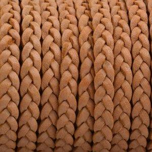 Bruin Plat gevlochten leer Cognac naturel 5x2mm - prijs per 20cm