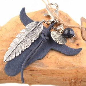 Blauw Bedel leerhanger buffel blauw DIY pakket