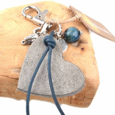 Grijs Bedel leerhanger hart grijs DIY pakket