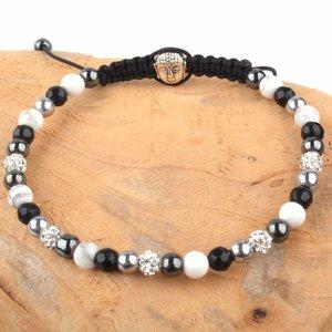 Zwart Strass & Stones armband zwart wit DIY pakket