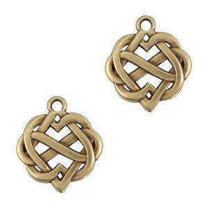 Antiek Goud Brons Bedel hearts & infinity Brons DQ 22x20mm