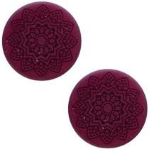 Paars Platte cabochon polaris mandala matt Royale aubergine 12mm