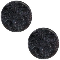 Zwart Platte cabochon polaris Jais Black 12mm
