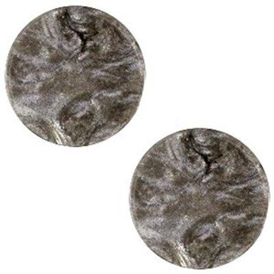 Bruin Platte cabochon polaris Jais Dark brown 12mm