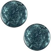 Blauw Platte cabochon polaris Jais Denim blue 12mm