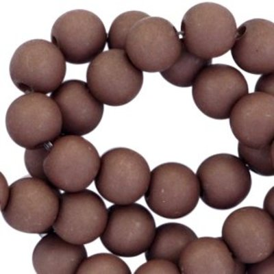 Bruin Acryl kralen mat Dark chocolate brown 6mm - 50 stuks