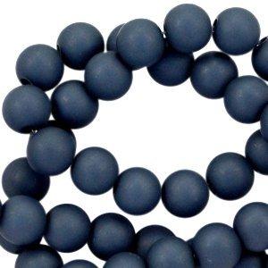 Blauw Acryl kralen mat Dark denim blue 6mm - 50 stuks