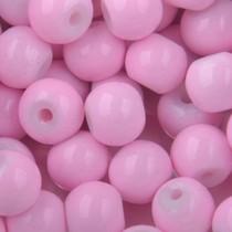 Roze Glaskralen rond shine light pink 6mm - 50 stuks