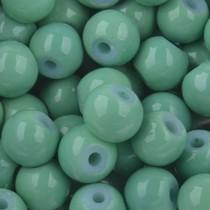 Groen Glaskralen rond shine vintage green 6mm - 50 stuks