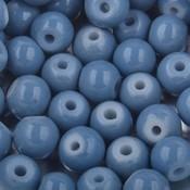 Blauw Glaskralen rond shine grijs blauw 6mm - 50 stuks