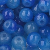 Blauw Glaskralen rond opaal blauw 6mm - 50 stuks
