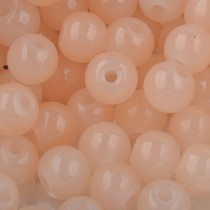 Oranje Glaskralen rond opaal beige peach 6mm - 50 stuks