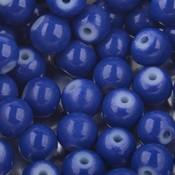 Blauw Glaskralen rond shine Hollands blauw 6mm - 50 stuks