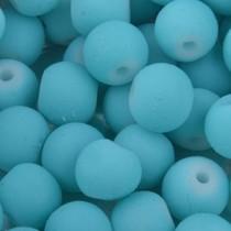 Blauw Glaskralen rond mat aqua 6mm - 50 stuks