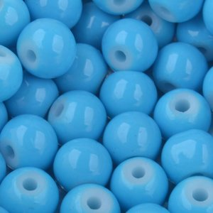 Blauw Glaskralen rond shine aqua blauw 6mm - 50 stuks