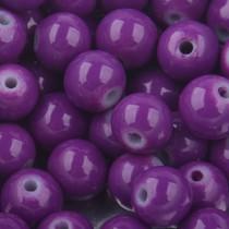 Paars Glaskralen rond shine fel paars 6mm - 50 stuks