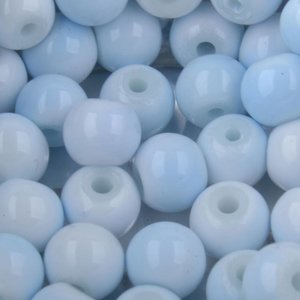 Blauw Glaskralen rond shine licht blauw wit 6mm - 50 stuks