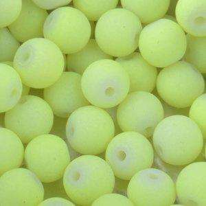 Geel Glaskralen rond mat fluor geel 6mm - 50 stuks