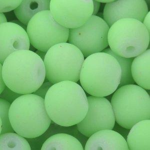Groen Glaskralen rond mat fluor groen 6mm - 50 stuks