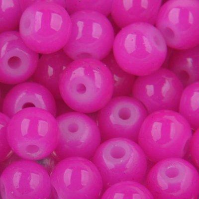 Roze Glaskralen rond opaal fuchsia roze 6mm - 50 stuks