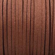 Bruin Imitatie suede cognac bruin metallic 3x1,5mm - 2 meter