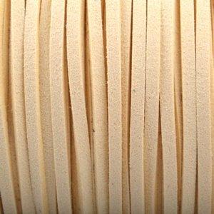 Geel Imitatie suede ivoor wit 3x1,5mm - 2 meter