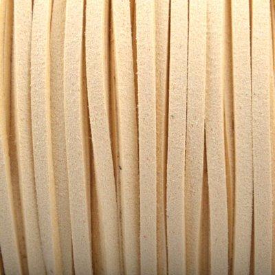 Geel Imitatie suede ivoor wit 3x1,5mm - 3 meter