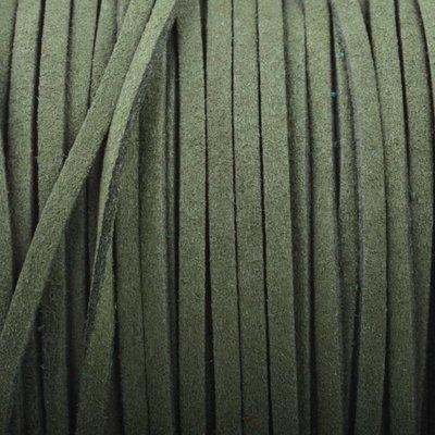 Groen Imitatie suede army green 3x1,5mm - 3 meter
