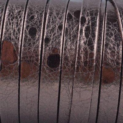 Bruin Plat nappa Leer Bruin metallic 5x1.5mm - prijs per cm