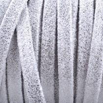 Zilver Plat nappa Leer Wit zilver vintage 5x1.5mm - prijs per cm