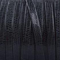 Zwart Plat nappa Leer Zwart snake 5x1.5mm - prijs per cm