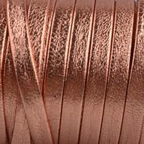 Rosegoud Plat nappa Leer Koper rosegoud 5x1.5mm - prijs per cm