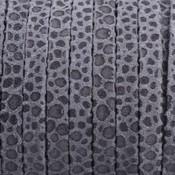 Grijs Plat nappa Leer Dots warm grijs 5x1.5mm - prijs per cm