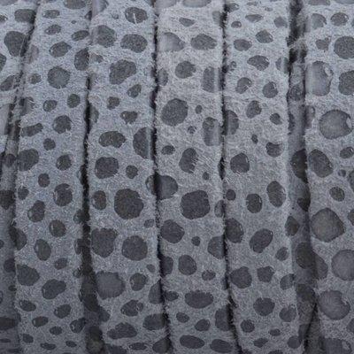 Grijs Plat nappa Leer Dots grijs 5x1.5mm - prijs per cm