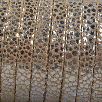 Bruin Plat nappa Leer Beige metallic spots 5x1.5mm - prijs per cm