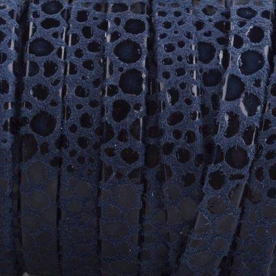 Blauw Plat nappa Leer Donker blauw spots 5x1.5mm - prijs per cm
