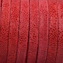 Rood Plat nappa Leer Suède rode spikkels 5x1.5mm - prijs per cm
